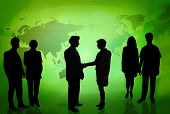 Business People In Front Of A World Map Green poster