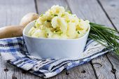 picture of potato-field  - Small portion of Mashed Potatoes in a bowl