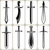stock photo of crossed swords  - Set of 8 Sword Icons and Signs - JPG