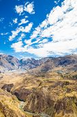 Colca Canyon, Peru,south America.  Incas To Build Farming Terraces With Pond And Cliff. One Of Deepe