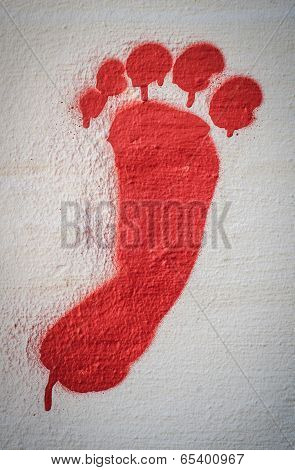 Red Painted Footprint