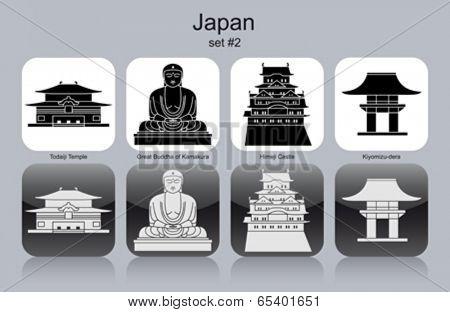Landmarks of Japan. Set of monochrome icons. Editable vector illustration.