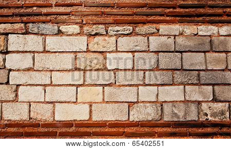 Old Cut Stone and Brick Wall
