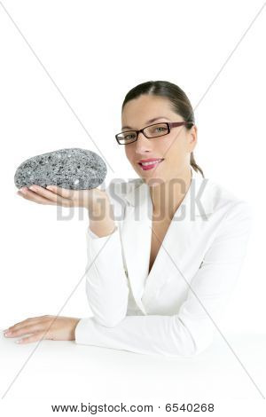 Businesswoman Concept Thinking With Gray Stone