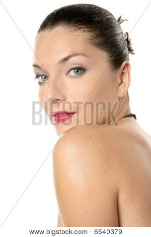 Beautiful Red Lips Woman Portrait At Studio