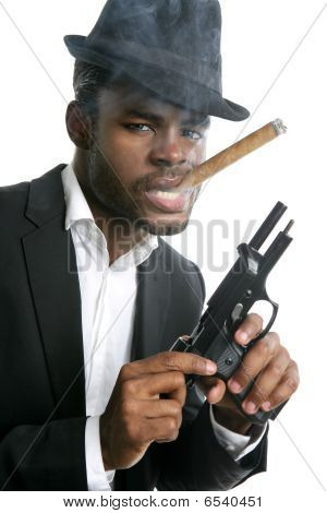 African American Mafia Man Smoking Cigar