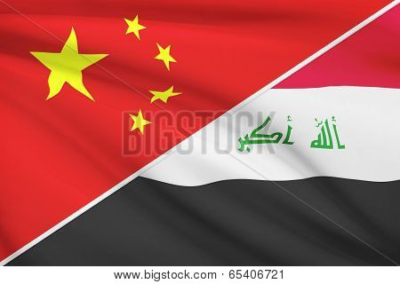Series Of Ruffled Flags. China And Republic Of Iraq.