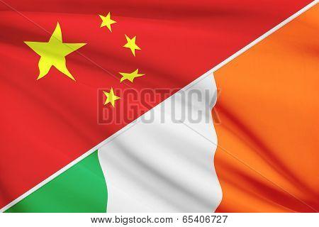 Series Of Ruffled Flags. China And Ireland.