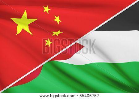 Series Of Ruffled Flags. China And Hashemite Kingdom Of Jordan.