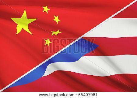 Series Of Ruffled Flags. China And Commonwealth Of Puerto Rico.