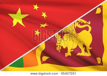 Series Of Ruffled Flags. China And Democratic Socialist Republic Of Sri Lanka.