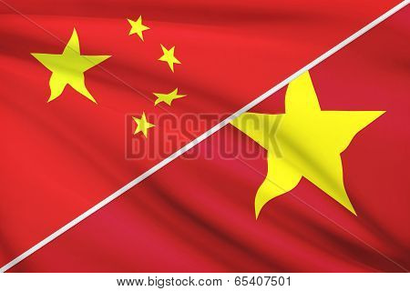 Series Of Ruffled Flags. China And Socialist Republic Of Vietnam.