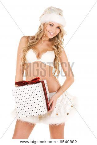 fröhlich Santa Helper Mädchen mit Geschenk-box