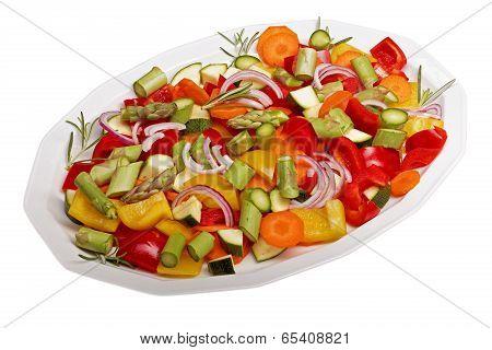 sliced vegetables for a vegetable pan