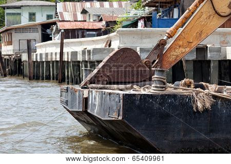 Excavator On Pontoon