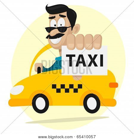 Taxi driver moves by car and smiling