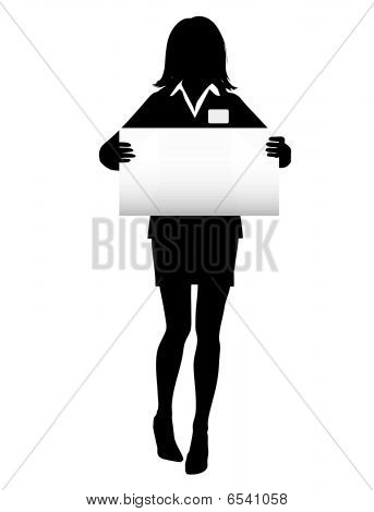 Business Woman Silhouette with NameTag Sign