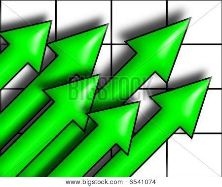 Upward Green Arrows
