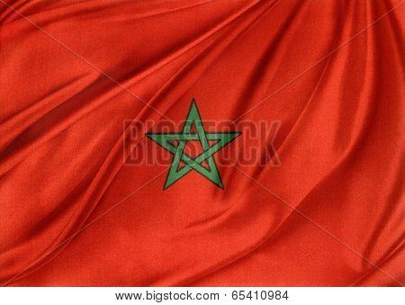 Closeup of silky Moroccan flag