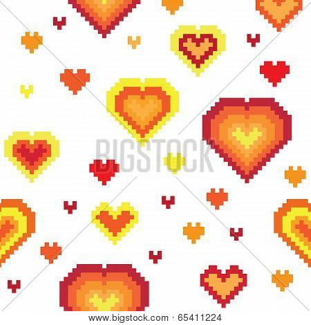 Seamless retro pixel game heart pattern