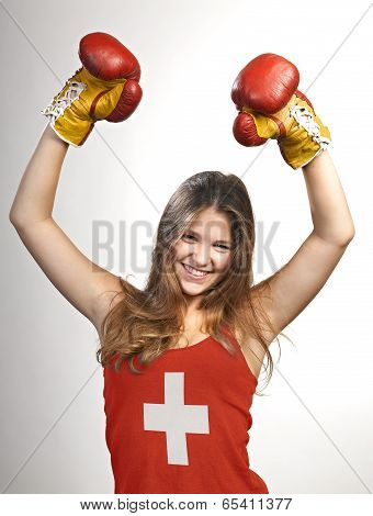 Success Woman Celebrating For Her Succes With The Flag Of Switzerland On Her Shirt