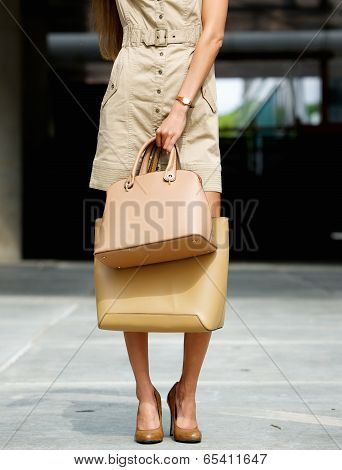 Woman Holding  Leather Handbags Outdoors