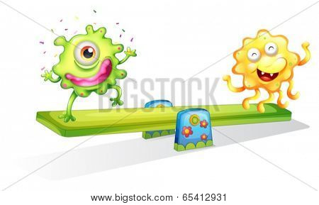 Illustration of the two monsters playing on a white background