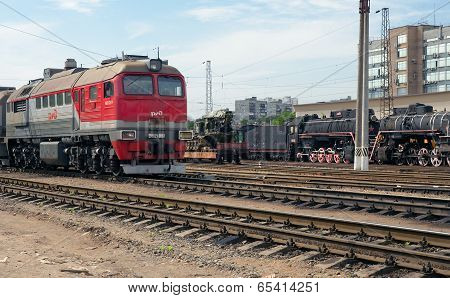 Diesel Locomotive And Two Steam Locomotives, Moscow, Russia