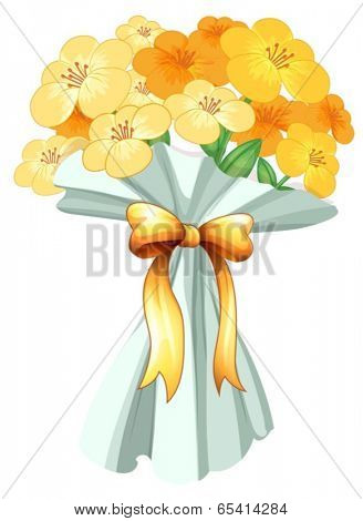 Illustration of a boquet of flowers with a ribbon on a white background