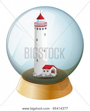 Illustration of a crystal ball with a lighthouse inside on a white background