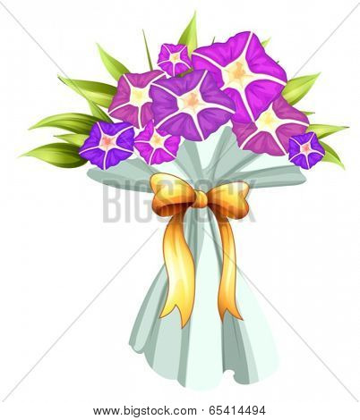 Illustration of a boquet of violet flowers on a white background