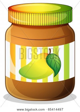 Illustration of a mango jam in a bottle on a white background