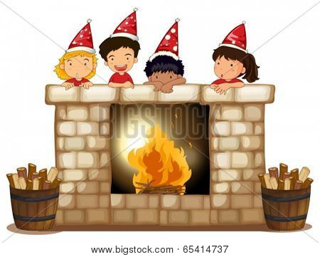 Illustration of the playful kids at the fireplace on a white background