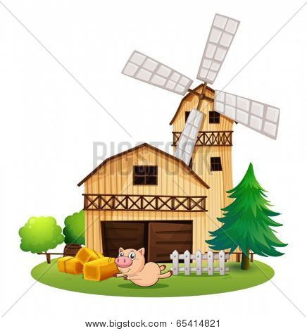 Illustration of a wooden farmhouse with a playful pig on a white background
