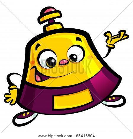 Happy Cartoon Reception Bell Help Desk Character Welcome Pose