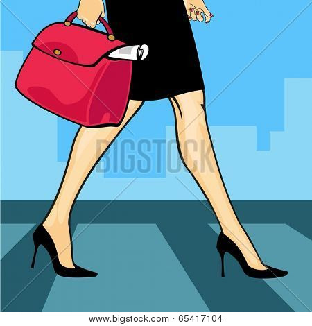 Woman crossing a road (raster version)