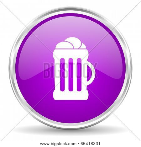 beer pink glossy icon