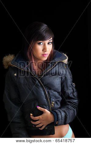 Pretty Girl In Winter Coat