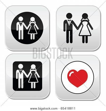 Wedding married couple white icon set on black