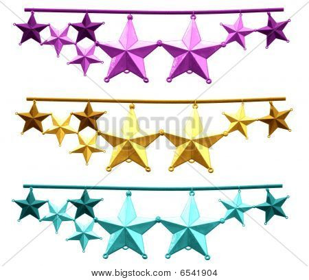 Purple Gold Cyan Christmas Stars