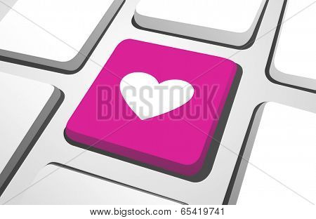 Close-up of pink heart computer icon for online-dating on a keyboard button.