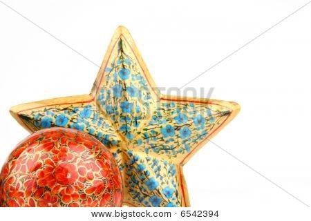 Single red ball and blue star