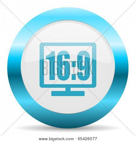 16 9 display blue glossy icon