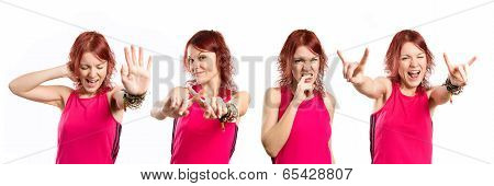 Young Girl Covering Her Ears And Doing Horn Gesture