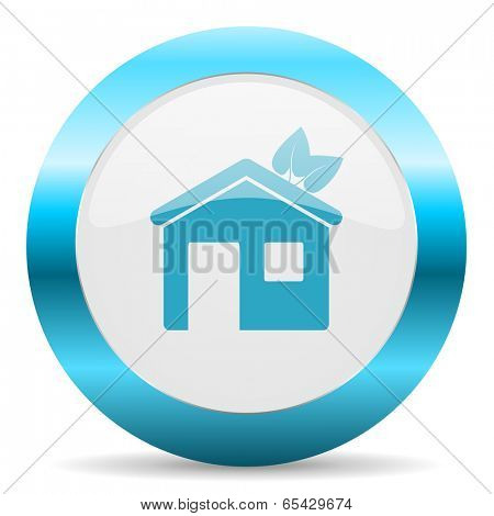 house blue glossy icon