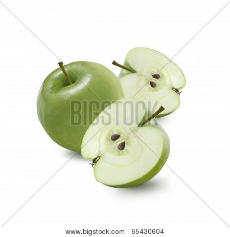 One Whole Green Apple And Two Halves Isolated On White