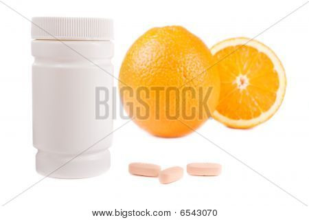 Oranges, Vitamin Pills And Container Isolated