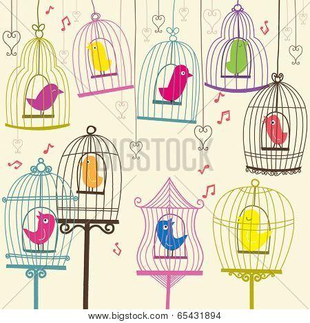 Retro Lovely Birdcage - Illustration