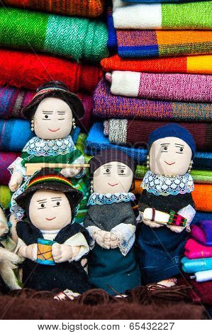 Traditional Rag Dolls In National Clothes, Ecuador