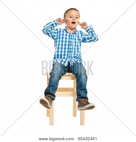 Kid On Chair Over White Background